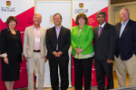Marie D'Iorio, John Kendall, Barry Sanders, MLA Linda Johnson, Janaka Ruwanpura, and Chip Elliott at the Institute for Quantum Science and Technology launch